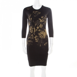 9ced7f456d09c Roberto Cavalli Black Wool Metallic Gold Floral Printed Sweater Dress S