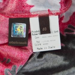 Roberto Cavalli Raspberry Pink Flower Printed Stretch Knit Sleeveless Dress S