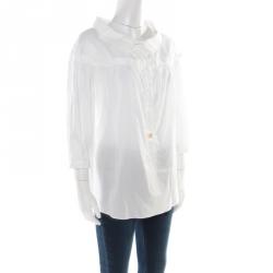 Roberto Cavalli White Cotton Gathered Blouse M