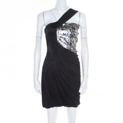29711ab78091 Roberto Cavalli Black Knit Sequined Bodice Draped One Shoulder Dress M