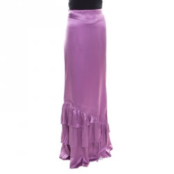 e39e1881905cc Roberto Cavalli Lavender Satin Silk Ruffled Bottom Maxi Skirt M