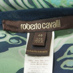Roberto Cavalli Green and Navy Printed Silk Belted Kimono Top L