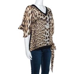 Roberto Cavalli Brown Leopard Print Silk Draped Sleeve Blouse L
