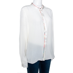 Roberto Cavalli Cream Silk Contrast Floral Piping Detail Blouse L