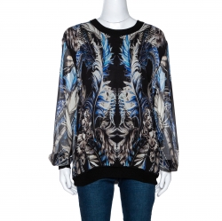 Roberto Cavalli Blue & Black Feather Print Silk Paneled Jumper L