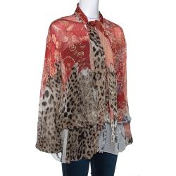 Roberto Cavalli Multicolor Floral & Animal Print Silk Neck Tie Detail Blouse L