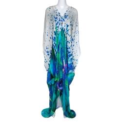 Roberto Cavalli Multicolor Floral Print Silk Plunge Neck Kaftan L