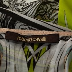 Roberto Cavalli Multicolor Printed Silk Maxi Cover Up Kaftan M