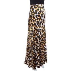 Roberto Cavalli Brown & Black Leopard Print Silk Flared Maxi Skirt L