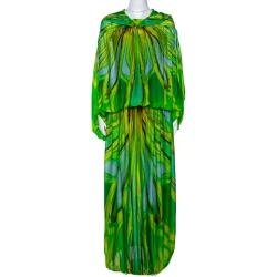 Roberto Cavalli Green Wave Print Silk Maxi Dress M