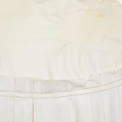 Roberto Cavalli Cream Leather Pleated Detail Zipper Front Jacket S