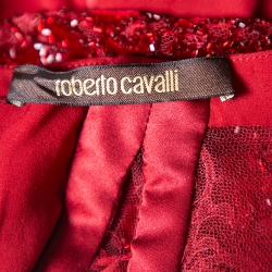Roberto Cavalli Burgundy Silk Embellished Lace Sleeve Detail Faux Wrap Maxi Dress L