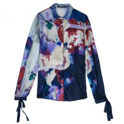 Roberto Cavalli Multicolor Floral Silk Blouse S