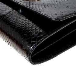 Roberto Cavalli Black Python Turnlock Flap Chain Clutch