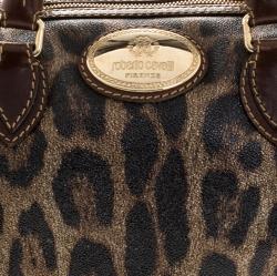 Roberto Cavalli Brown/Gold Leopard Printed Leather Boston Bag