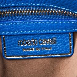 Roberto Cavalli Blue Leather Chain Shoulder Bag