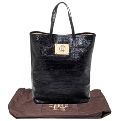 Roberto Cavalli Black Croc Embossed Leather Logo Plaque Tote