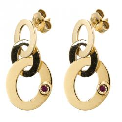 Roberto Coin Chic and Shine 18K Yellow Gold Circle Link Earrings