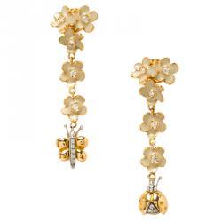 Roberto Coin Ivory Enamel & Flower Diamond 18k Rose Gold Necklace Earring Set