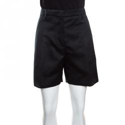 Rochas Black Satin High Waist Duchesse Shorts XL