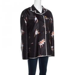 Rochas Black Ballerina Printed Duchesse Satin Pajama Style Jacket L