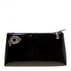 Rochas Black Patent Leather Crystal Embellished Eye Shoulder Bag