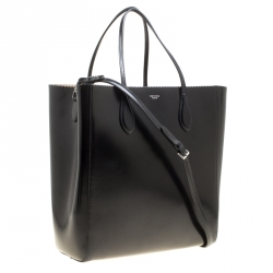 Rochas Black Leather Shopper Tote