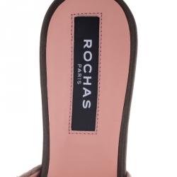 Rochas Beige Suede Crystal Embellished Open Toe Flat Slides Size 38