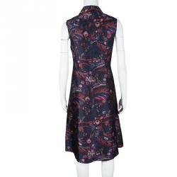 Rochas Navy Blue Printed Silk Wool Blend Sleeveless Zip Front Dress M