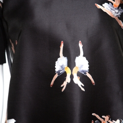Rochas Black Ballerina Printed Satin and Knit Short Sleeve Top L