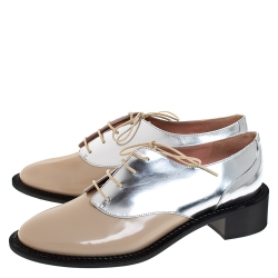 Rochas Nude/Metallic Silver Leather Lace Up Derby Size 38