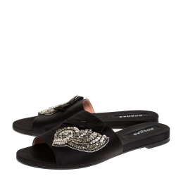 Rochas Black Satin Crystal And Bow Embellished Flat Mule Slides Size 39