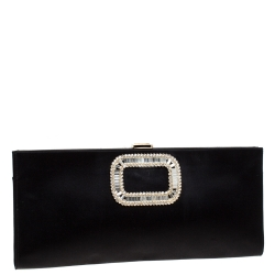 Roger Vivier Black Crystal Embellished Satin Pilgrim Clutch