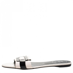 Roger Vivier Cream/Black Leather Pilgrim De Jour Flat Slides Size 39