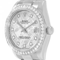 Rolex Meteorite 18K White Gold and Stainless Steel Diamond Datejust Women's Wristwatch 31MM