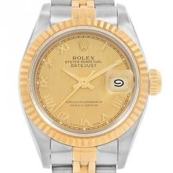 Rolex Champagne 18K Yellow Gold and Stainless Steel Datejust 69173 Women's Wristwatch 26MM