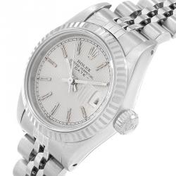 Rolex Silver 18K White Gold and Stainless Steel Datejust 69174 Women's Wristwatch 26MM