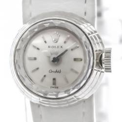 Rolex Silver 18K White Gold Orchid Women's Wristwatch 17 MM