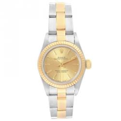Rolex Champagne 18k Yellow Gold and Stainless Steel Oyster Perpetual NonDate 67193 Women's Wristwatch 24MM