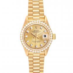 Rolex Champagne Diamonds 18K Yellow Gold Datejust President 69138 Women's Wristwatch 26 MM