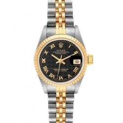 Rolex Black Pyramid 18K Yellow Gold And Stainless Steel Datejust 69173 Women's Wristwatch 26 MM