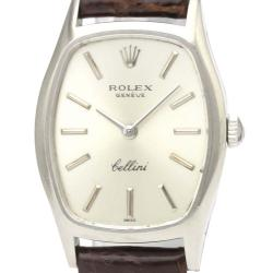 Rolex Silver 18K White Gold Cellini 3803 Mechanical Women's Wristwatch 23 MM