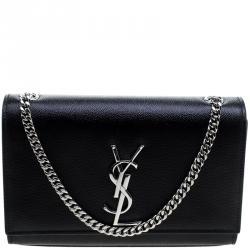 Saint Laurent Black Monogram Leather Small Kate Shoulder Bag