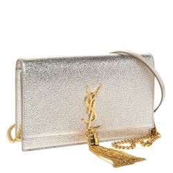 Saint Laurent Gold Crackled Leather Kate Tassel Wallet on Chain