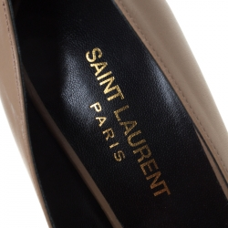 Saint Laurent Paris Brown Leather Pointed Toe Pumps Size 37