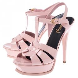 Saint Laurent Paris Pink Patent Leather Tribute Platform Ankle Strap Sandals Size 37