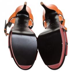 Saint Laurent Paris Red/Orange Leather Tribute Platform Ankle Strap Sandals Size 41.5