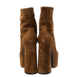 Saint Laurent Brown Suede Billy Platform Boots Size 39