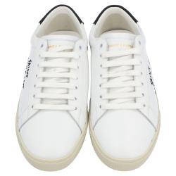 Saint Laurent White/Black Leather Court Classic Sneakers Size EU 38
