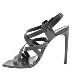Saint Laurent Paris Black Leather Sandals Size EU 37